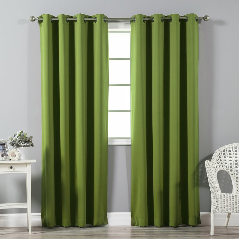 solid blackout thermal grommet curtain panels OOBUJRG