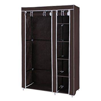songmics clothes closet portable wardrobe storage organizer with shelves  dark brown 43 QTGNTCI
