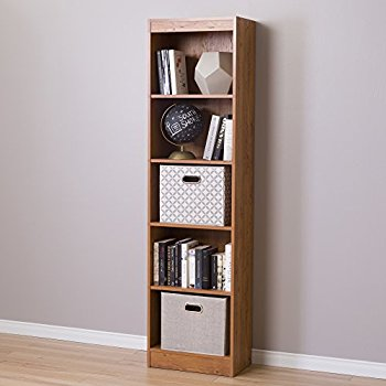 south shore axess 5-shelf narrow bookcase, country pine PLTNGRM