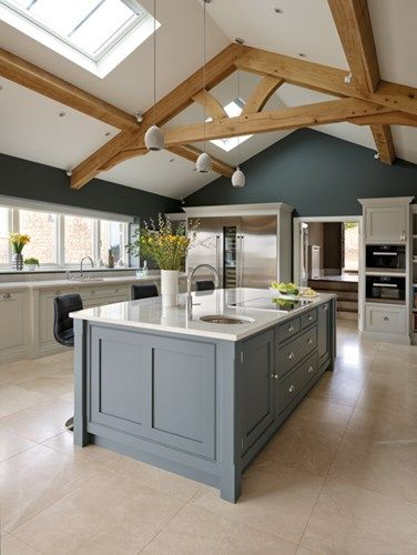 spacious open plan kitchen - tom howley love the open beams on the JMYVWRR