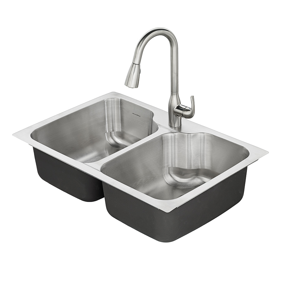 stainless steel kitchen sinks american standard tulsa 33-in x 22-in double-basin stainless steel drop PYFQOFI