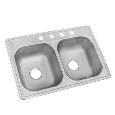 stainless steel kitchen sinks drop-in stainless steel 33 in. 4-hole double bowl kitchen sink TMGVHZN