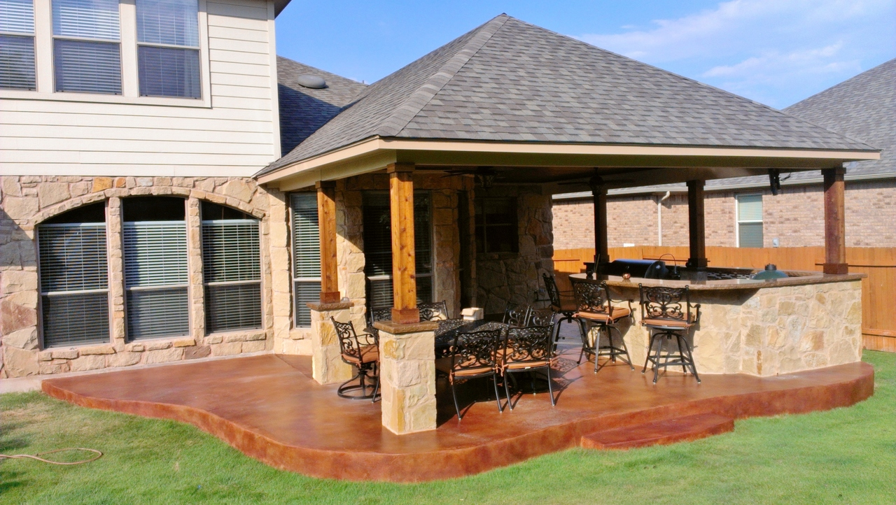 stamped concrete covered patio perfection VCGVSOP