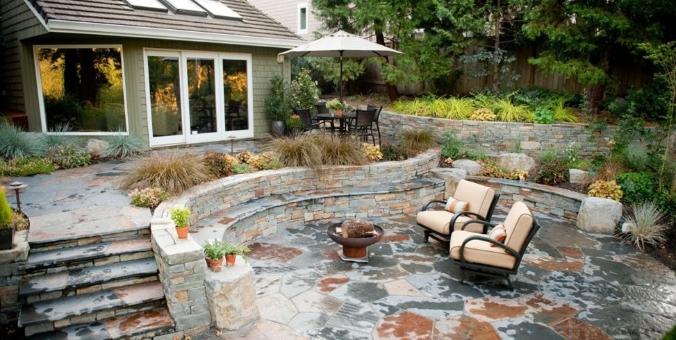 stone patio gregg and ellis landscape designs UKVGXEF