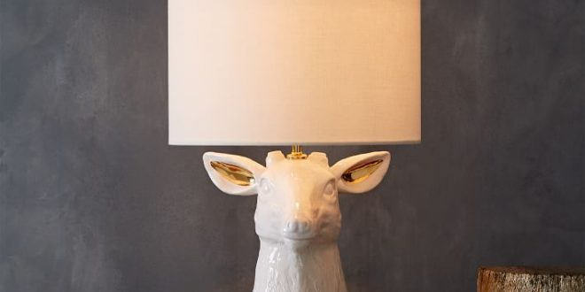 table lamps ceramic nature stag table lamp | west elm APWKHKV