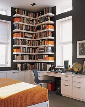 tall bookshelves nice use of tall floating bookshelves in home office with OFEHESI