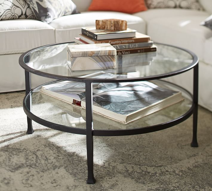 tanner round coffee table - bronze finish | pottery barn CWMGSUE