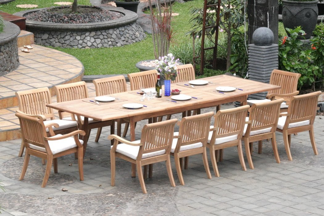 teak garden furniture 13-piece-teak-dining-set QHAYQYM