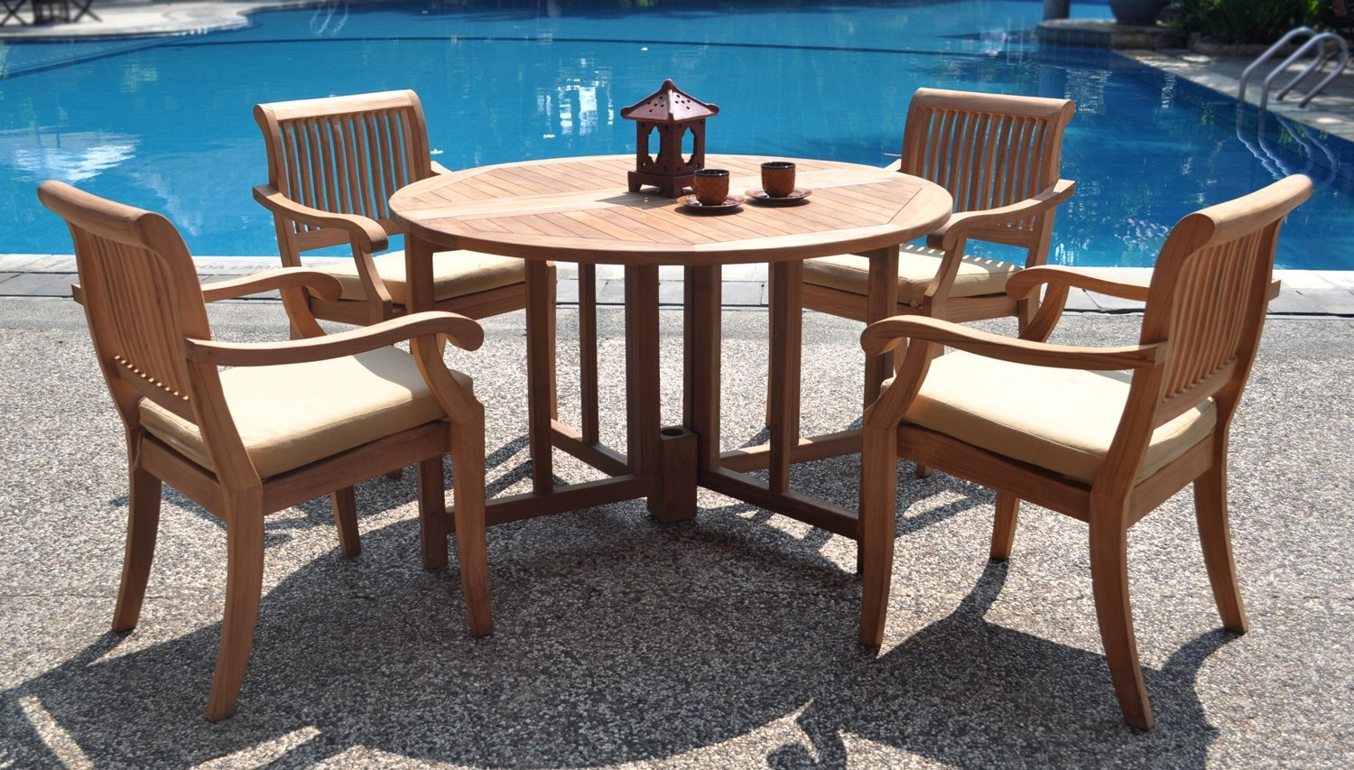 teak garden furniture 5 piece grade a teak dining set 48 inch round table LBLMZSC