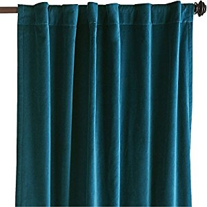 teal thick velvet curtains - absolute blackout 52 KCHTVVY