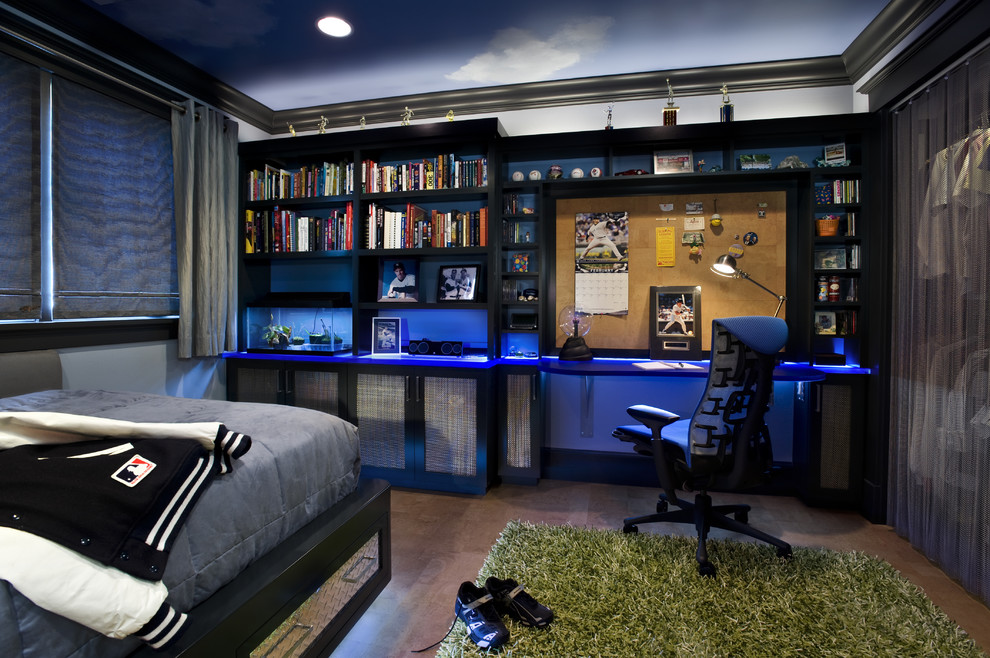 teenage bedrooms if your kid into video games, built-in lighting is one of those things OFWBLKD