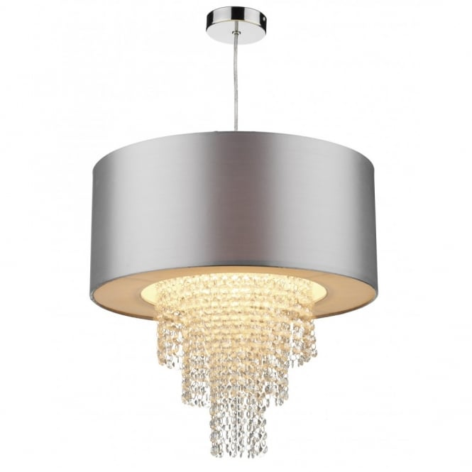 the lighting book lopez easy fit silver faux silk ceiling light shade GZCXPKU
