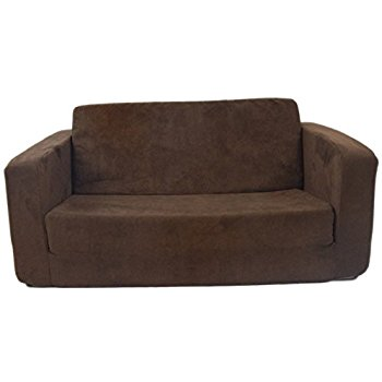 toddler sofa fun furnishings 55247 toddler flip sofa in micro suede fabric, chocolate ANUJXLE