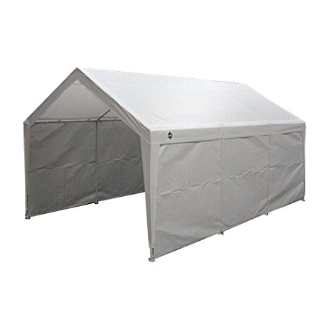 true shelter 12u0027 x 20u0027 car canopy gazebo tent cover 8 legs steel KTORMDS