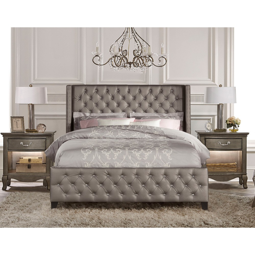 upholstered beds memphis faux leather upholstered bed in textured pewter ARGKZTZ