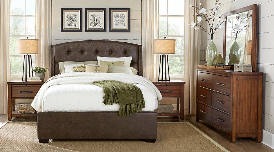 urban plains brown 5 pc queen upholstered bedroom - queen bedroom sets dark NABTKBR