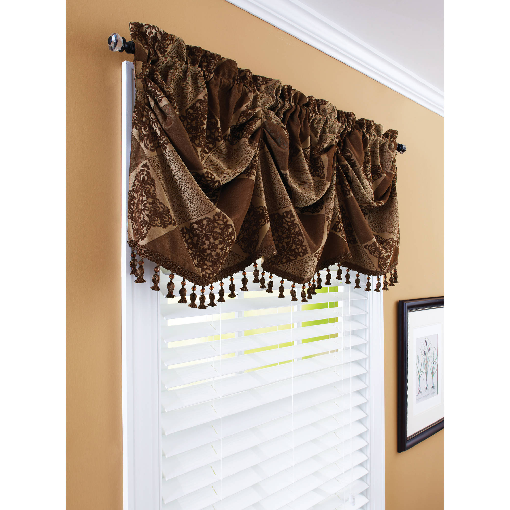valance curtains vcny home carmen pintuck rod pocket window curtain valance - walmart.com WGIVSAZ