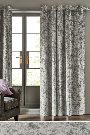 velvet curtains grey crushed velvet eyelet lined curtains KURXOOF