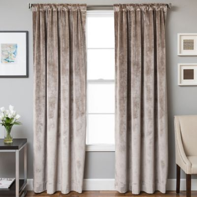 velvet curtains velvet rod pocket/back tab 63-inch lined window curtain panel in walnut ZGLIPYH