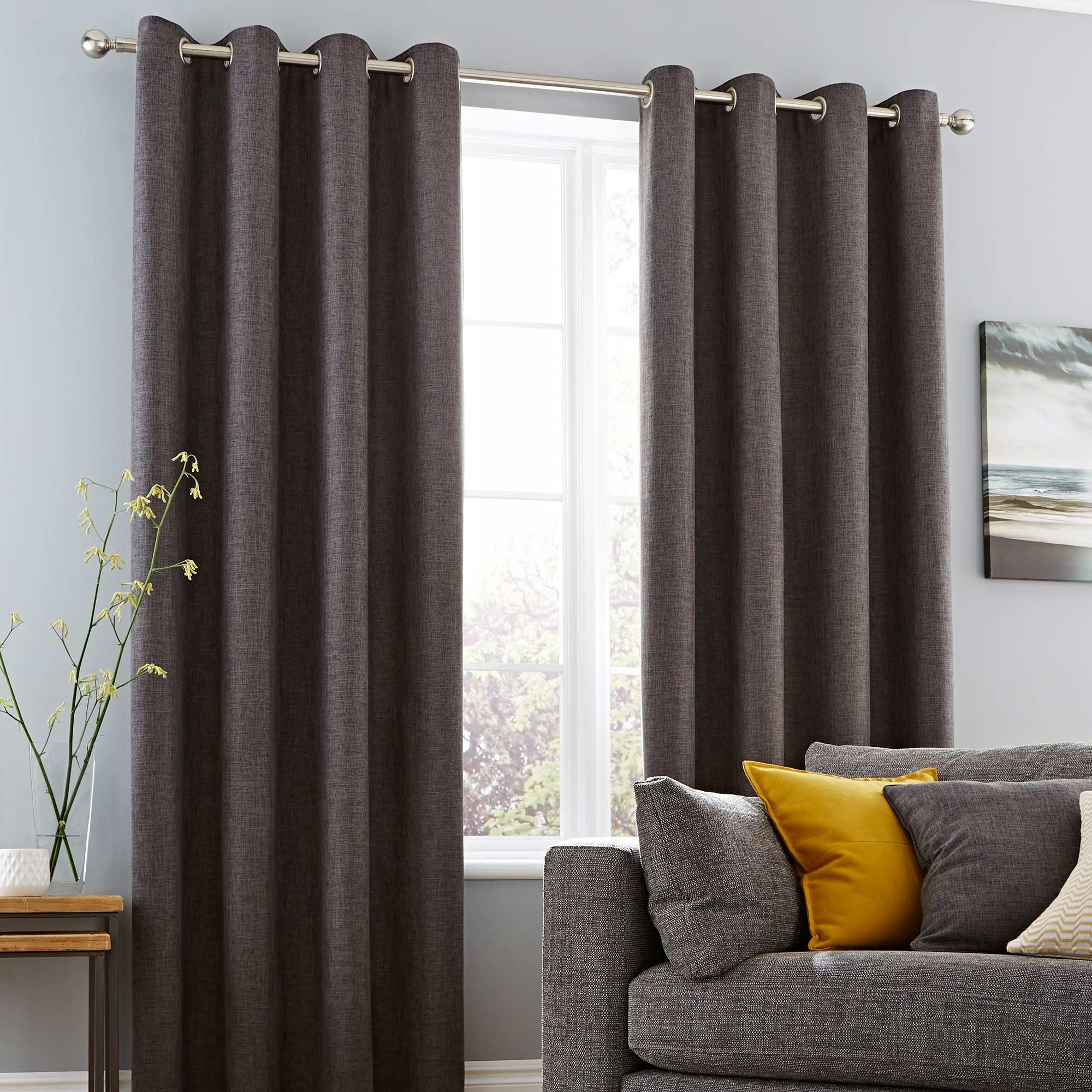 vermont charcoal lined eyelet curtains XVWNHXZ