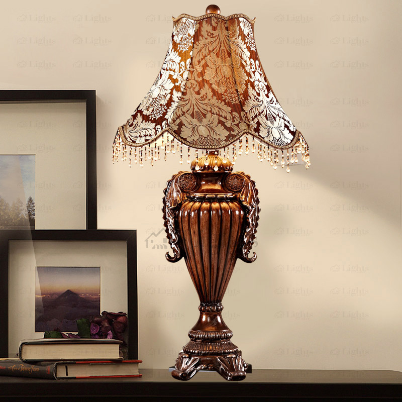 vintage fabric shade resin base antique lamps for bedroom ACJSOHR