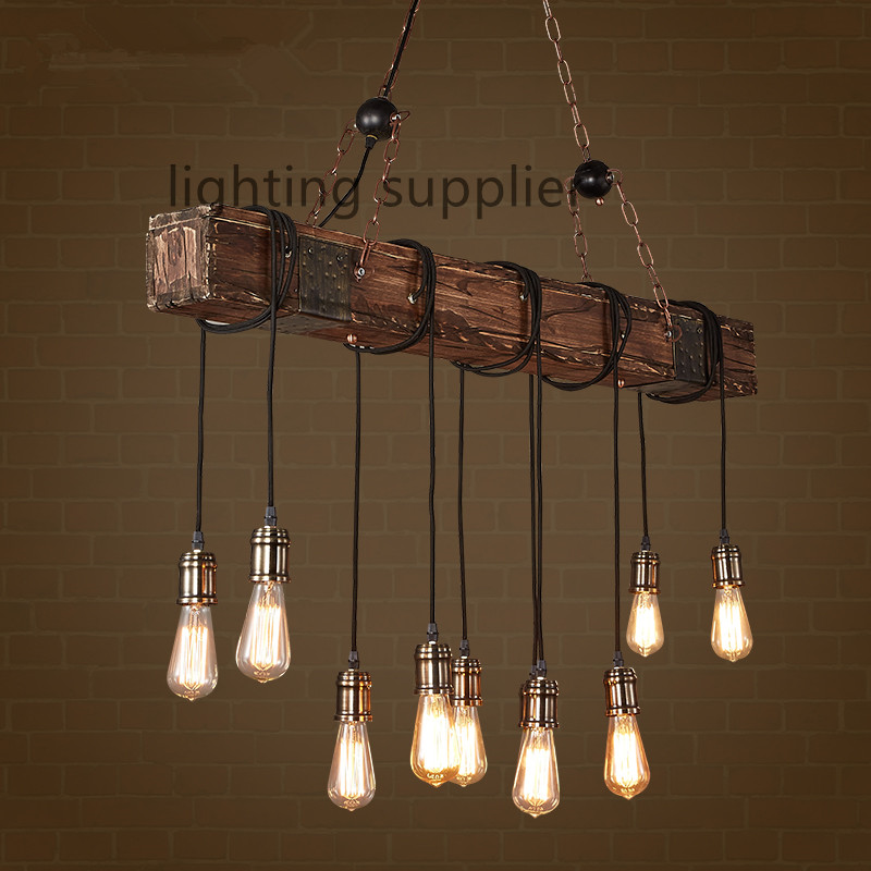 vintage lighting loft style creative wooden droplight edison vintage pendant light fixtures  for dining RODLUDX