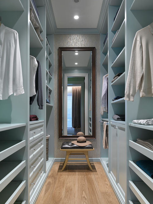walkin closet small transitional gender-neutral medium tone wood floor and brown floor  walk-in closet KNJBEHK