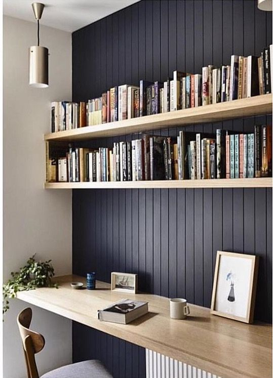 wall bookshelves dark feature wall with natural wood shelving to highlight. beadboard  panelling. LNWAUPJ