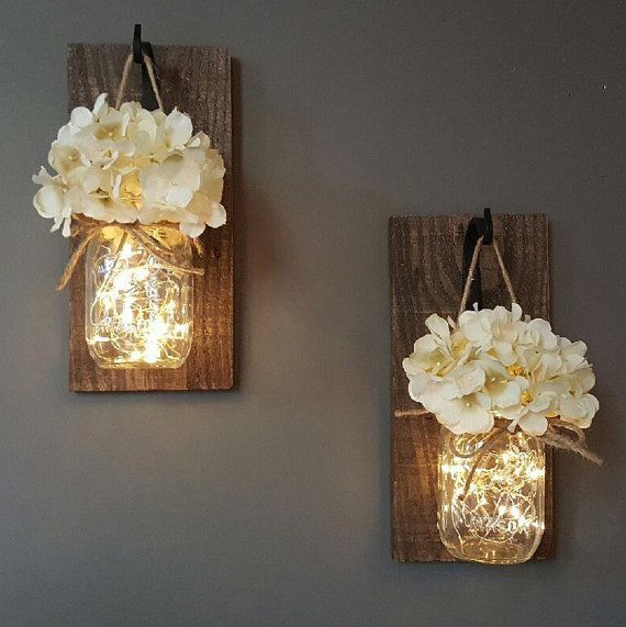wall decor ideas glowing mason jar wall sconces WRDKJLQ