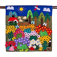 wall hangings applique wall hanging, u0027harvesting joyu0027 - cheerful applique arpilleria wall  hanging from SMVCWSD