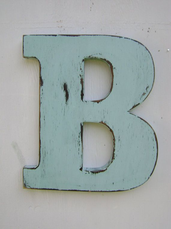 wall letters rustic wood wedding decor letter, b distressed spa blu,wood alphabet letters ,12 UDIBEWC