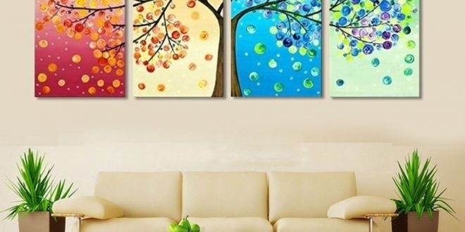 wall painting 4 piece frameless colorful leaf trees canvas painting wall art spray wall FVKATHZ