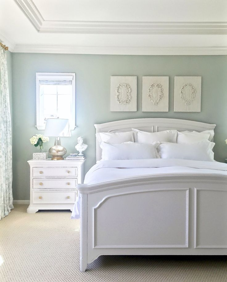 white bedroom furniture ... restoration hardware silver sage (gray/green/blue tranquil spa-like  feel), furniture is painted ZKRFVIH