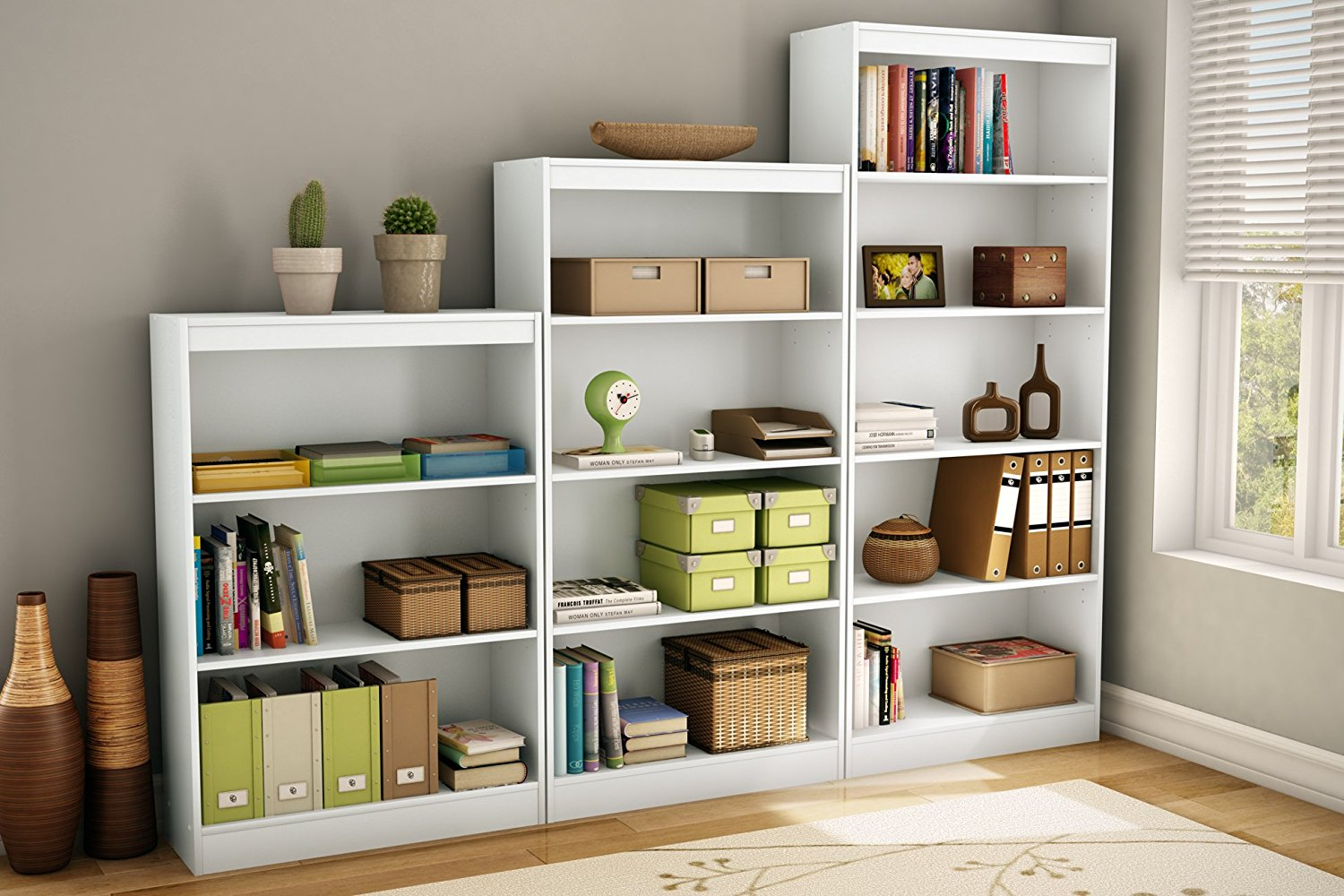 white bookshelves amazon.com: south shore axess collection 4-shelf bookcase, pure white:  kitchen u0026 dining KRLXYHB