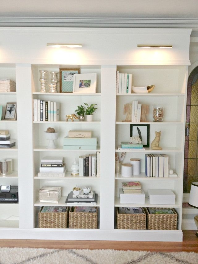 white bookshelves behind the scenes of my better homes and gardens shoot - built in UKMKXNK