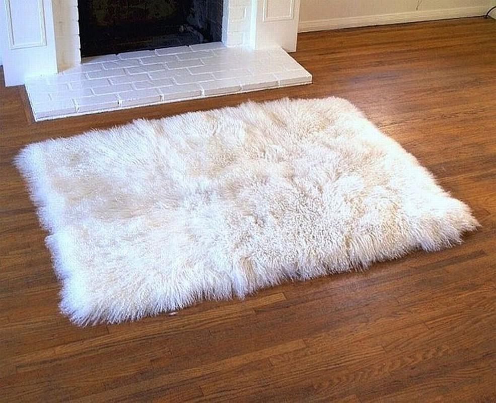 white fur rug | white fur rugs | tibetan lambswool HBBYVIU