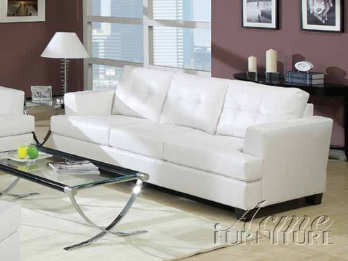 white leather sofa amazon.com: acme platinum white sofa: kitchen u0026 dining VZBEKEP