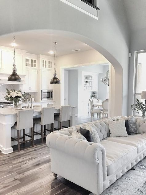 White Living Room Neutral Farmhouse Kitchen With Dark Hardwood Floors.  Farmhouse Kitchen With Open Layout
