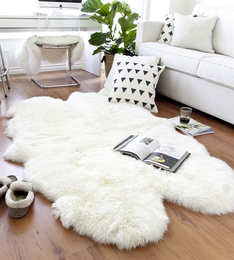 white quad sheepskin rug | 4 joined pelts PQDLJEM