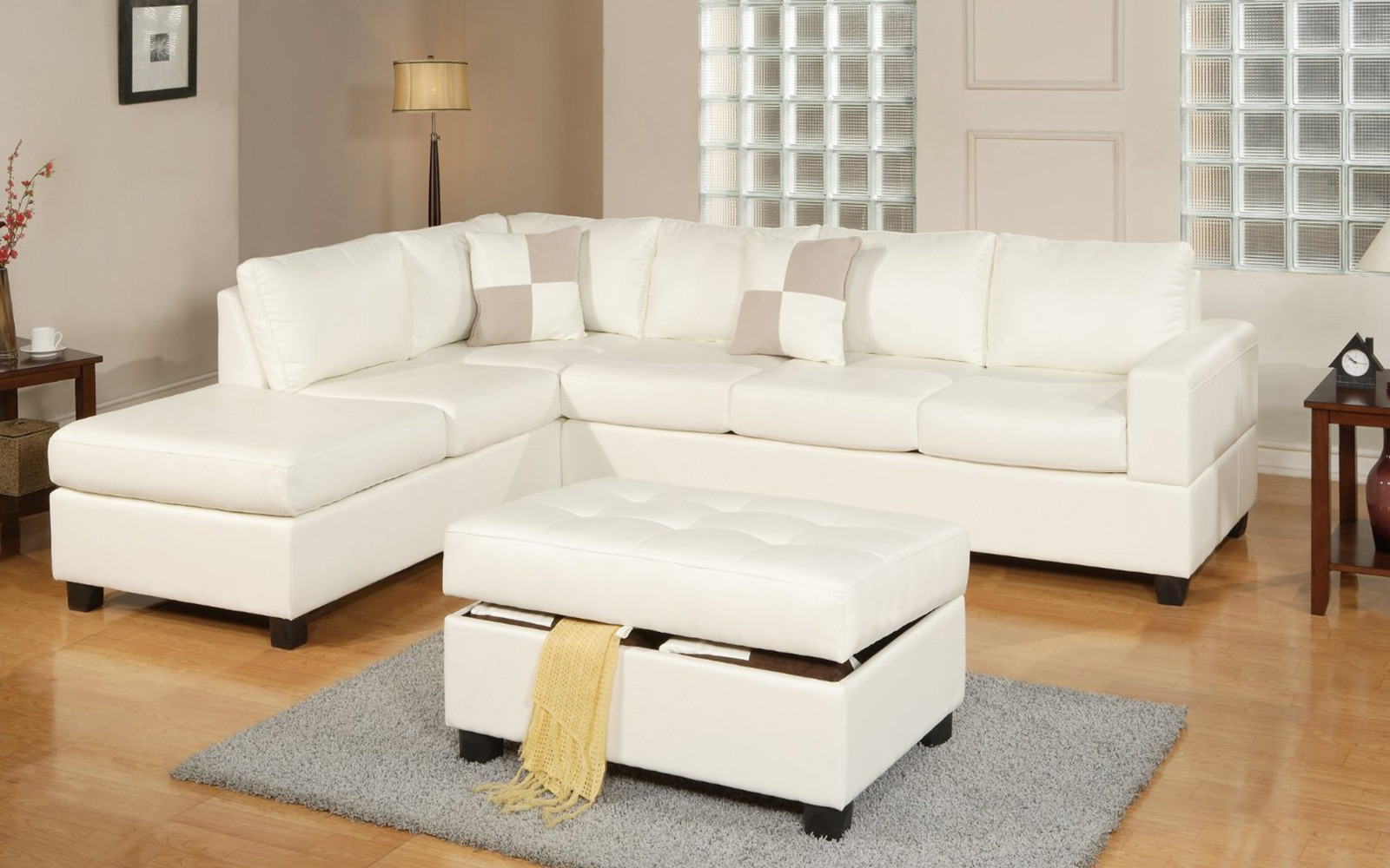 white sectional sofa 3 piece modern reversible tufted bonded leather sectional sofa with ottoman  - CYCLSMZ