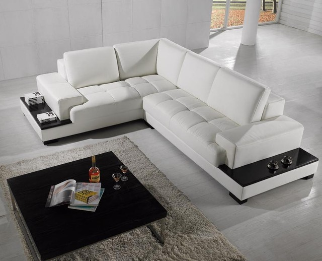 white sectional sofa modern sectional sofa in white bonded leather modern-living-room DURQWLE