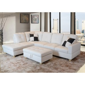 white sectional sofa white sectional sofas youu0027ll love | wayfair PRTJNNR