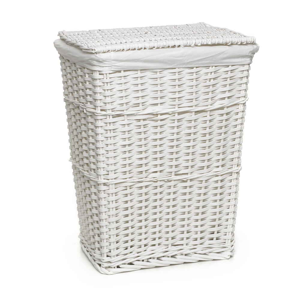wicker laundry basket wilko split wood laundry hamper white LJZIYXO