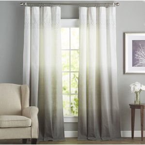 window drapes arashi solid semi-sheer rod pocket single curtain panel NTDLFCW