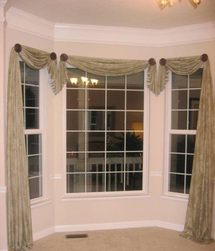window scarves home design and decor , pretty window scarf ideas : bay window asymmetrical RWUUXYE