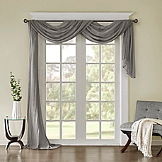 window scarves image of madison park harper solid crushed sheer scarf window valance AVWYBIU