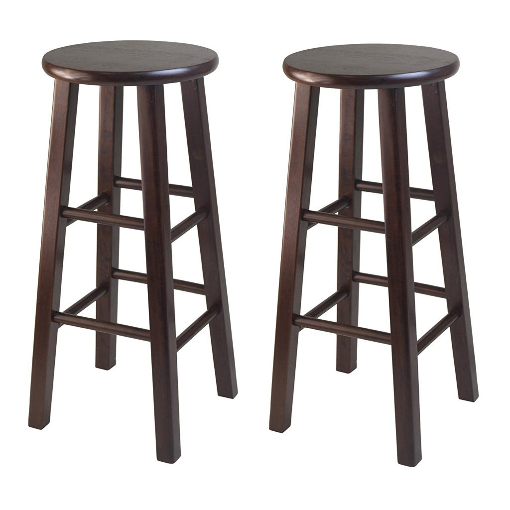 wood bar stools amazon.com: winsome 29-inch square leg bar stool, antique walnut, set of 2: SRYRJFA