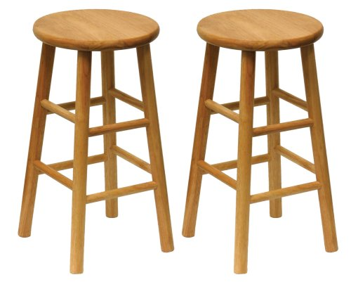 wood bar stools amazon.com: winsome wood wood 24-inch counter stools, set of 2, natural  finish: FXQQBRY