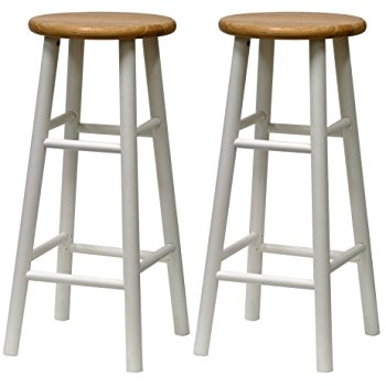 wood bar stools winsome wood s/2 beveled seat 30-inch bar stools nat/wht NQLRDYA