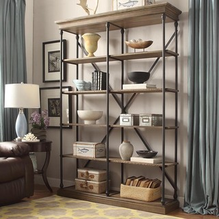 wood bookcases barnstone cornice double shelving bookcase by inspire q artisan QUBSBIM